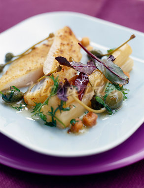 Breaded John Dory with hazelnuts and salsify Stock Photo - Premium Rights-Managed, Artist: Photocuisine, Code: 825-03627943
