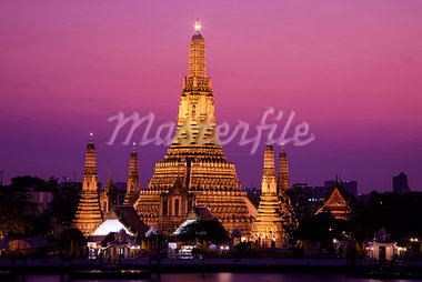 Thailand,Bangkok,Wat Arun and Chao Phraya River Stock Photo - Premium Rights-Managed, Artist: Asia Images, Code: 849-03645340