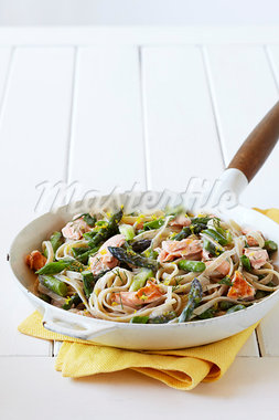 Pasta with Salmon and Asparagus Stock Photo - Premium Royalty-Free, Artist: Jodi Pudge, Code: 600-03686085