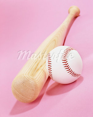 Baseball and bat on pink background Stock Photo - Premium Royalty-Freenull, Code: 618-03686976