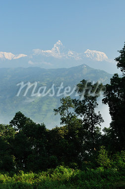 Annapurna Himal and Machapuchare View From Peace Pagoda, Pokhara, Gandaki, Pashchimanchal, Nepal Stock Photo - Premium Royalty-Free, Artist: Jochen Schlenker, Code: 600-03737755