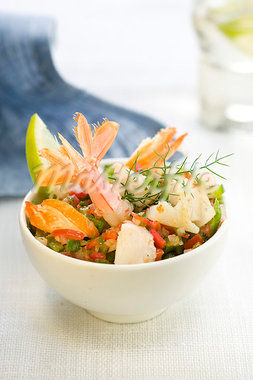 vegetables with shrimps and monkfish Stock Photo - Premium Royalty-Freenull, Code: 652-03802735
