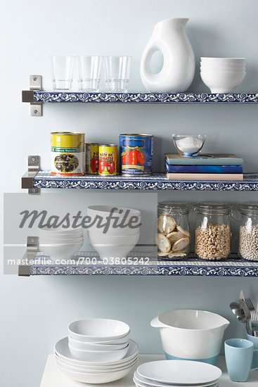 Kitchen Shelves Stock Photo - Premium Rights-Managed, Artist: Michael Alberstat, Code: 700-03805242