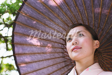Japanese Woman in Kimono with Bangasa Parasol Stock Photo - Premium Rights-Managed, Artist: Aflo Relax, Code: 859-03811304