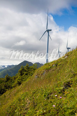 Wind turbines on Pillar Mountain for the Pillar Mountain Wind Project, operated and owned by the Kodiak Electric Association, Kodiak Island, Southwest Alaska, Summer Stock Photo - Premium Rights-Managed, Artist: AlaskaStock, Code: 854-03845234