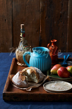 Bread, Pears and Various Jugs and Bottles on Tray Stock Photo - Premium Rights-Managed, Artist: John Cullen, Code: 700-03874624