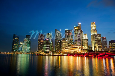 Singapore, Singapore, Marina Bay.  The central business district skyline at dusk. Stock Photo - Premium Rights-Managed, Artist: AWL Images, Code: 862-03889570