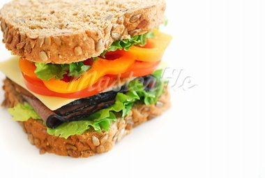 Big healthy sandwich with vegetables and meat close up Stock Photo - Royalty-Free, Artist: Elenathewise, Code: 400-03911115