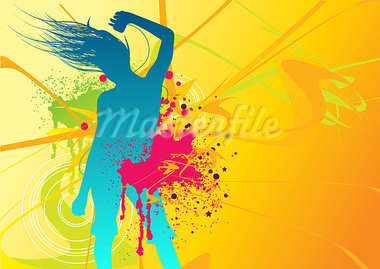 Illustration of a female dancing with fresh elements Stock Photo - Royalty-Free, Artist: solarseven, Code: 400-03911775