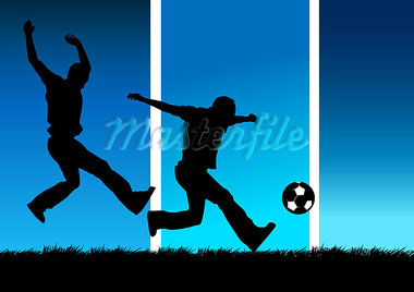 Illustration of two people playing football. Stock Photo - Royalty-Free, Artist: solarseven, Code: 400-03912164