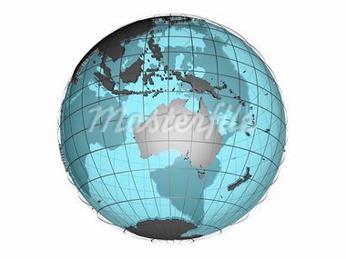 3D model of globe map showing Australian and Oceania continent, with meridians and semi-transparent oceans, on white background with clipping path attached to jpg file Stock Photo - Royalty-Free, Artist: 3000ad, Code: 400-03914067