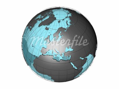 3D model of globe map showing European continent, with meridians and semi-transparent oceans, on white background with clipping path attached to jpg file Stock Photo - Royalty-Free, Artist: 3000ad, Code: 400-03914068