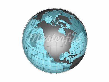 3D model of globe map showing North American continent, with meridians and semi-transparent oceans, on white background with clipping path attached to jpg file Stock Photo - Royalty-Free, Artist: 3000ad, Code: 400-03914069