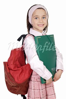 adorable girl studying in the school a over white background Stock Photo - Royalty-Free, Artist: Gelpi, Code: 400-03920194