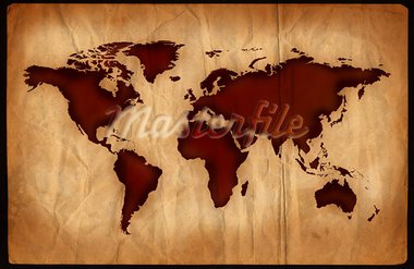 World map on aged, grungy paper. Stock Photo - Royalty-Free, Artist: samgrandy, Code: 400-03925857