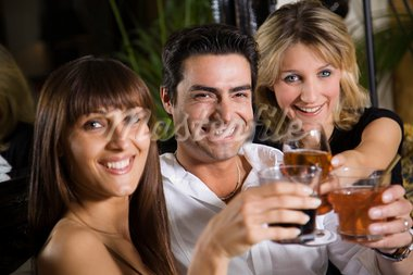 healthy living: friends at a restaurant having fun together Stock Photo - Royalty-Free, Artist: diego_cervo, Code: 400-03927515