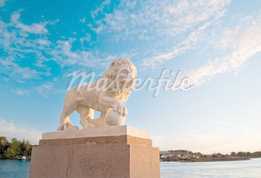 imperial lion at sunset near the gulf of finland Stock Photo - Royalty-Free, Artist: sahua, Code: 400-03931742