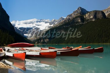 Canoes on wharf at Lake Louise Stock Photo - Royalty-Free, Artist: NDS_SPD, Code: 400-03933140