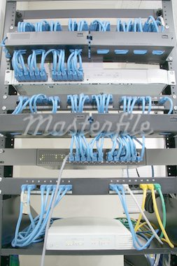 cabling rack with patch panels hubs and switches Stock Photo - Royalty-Free, Artist: jonasbsl, Code: 400-03933865