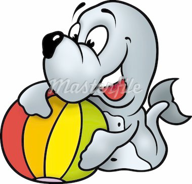 Seal with ball - High detailed illustration - Happy playful seal Stock Photo - Royalty-Free, Artist: derocz, Code: 400-03934067
