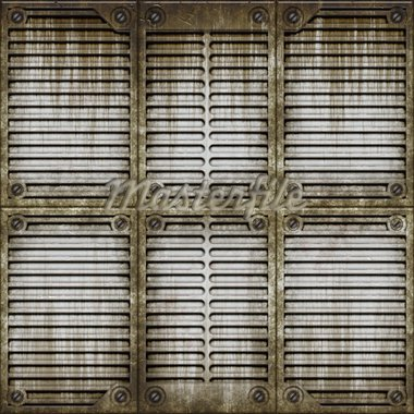 Illustration of old metallic industrial window cover Stock Photo - Royalty-Free, Artist: icholakov, Code: 400-03938521
