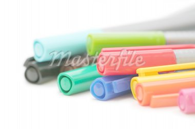A bunch of colorful pens against white background, showing only the tips. Stock Photo - Royalty-Free, Artist: fsimeoni, Code: 400-03938618