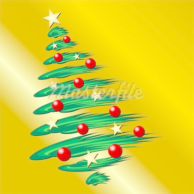 Christmas tree over gold gradient background Stock Photo - Royalty-Free, Artist: pnog, Code: 400-03940492