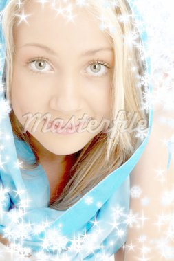 portrait of smiling blond in blue scarf with snowflakes Stock Photo - Royalty-Free, Artist: dolgachov, Code: 400-03946637