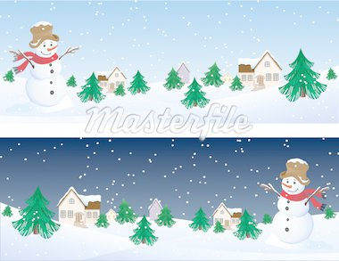 Vector illustration - snowman whis winter background Stock Photo - Royalty-Free, Artist: Jut, Code: 400-03947713