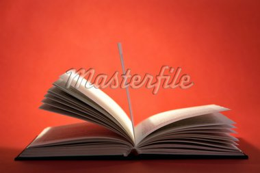 Open book with pages on red background Stock Photo - Royalty-Free, Artist: kasia75, Code: 400-03949445
