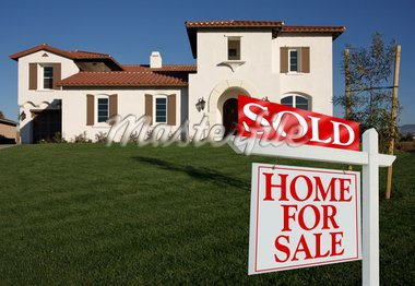 Sold Home For Sale Sign in Front of New House  Stock Photo - Royalty-Free, Artist: Feverpitched, Code: 400-03951242