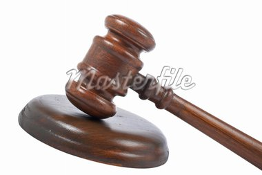 Gavel wooden detail isolated on white background Stock Photo - Royalty-Free, Artist: broker, Code: 400-03951289