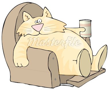 This illustration depicts a fat cat sitting in a recliner holding a soft drink or beer. Stock Photo - Royalty-Free, Artist: caraman, Code: 400-03951611