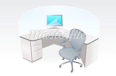 vector illustration of the typical working place cubicle Stock Photo - Royalty-Free, Artist: sahua, Code: 400-03954915