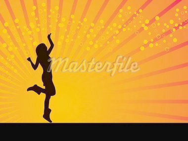 Dancing girl vector orange background illustration Stock Photo - Royalty-Free, Artist: BERVIVO, Code: 400-03956660