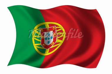 Flag of Portugal waving in the wind - clipping path included Stock Photo - Royalty-Free, Artist: badboo, Code: 400-03956941