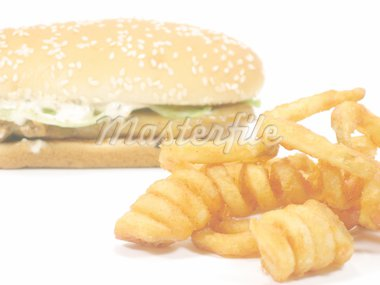 Twister fries with grilled chicken burger background in isolated white Stock Photo - Royalty-Free, Artist: bedo, Code: 400-03963467