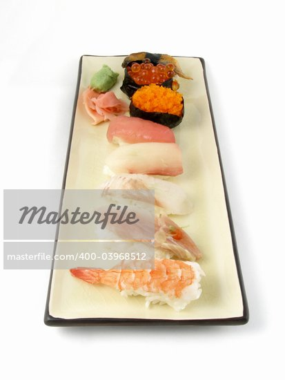 An order of nigiri sushi Stock Photo - Royalty-Free, Artist: disorderly, Code: 400-03968512