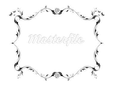 Butterfly and flower theme, white frame vector wallpaper Stock Photo - Royalty-Free, Artist: BERVIVO, Code: 400-03969827