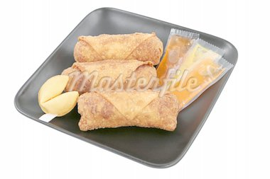 A plate of Chinese egg rolls with duck sauce, mustard & fortune cookie. Path included. Stock Photo - Royalty-Free, Artist: lisafx, Code: 400-03970928