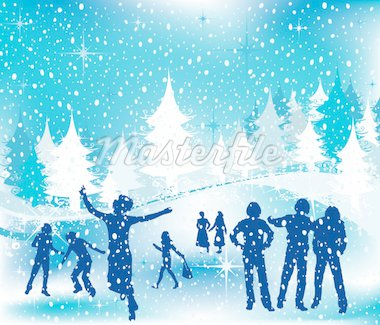 Christmas illustration; winter scene with silhouettes having fun Stock Photo - Royalty-Free, Artist: dip, Code: 400-03972020