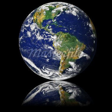 NASA public-use image Globe reflected on glass Stock Photo - Royalty-Free, Artist: cmcderm1, Code: 400-03972805
