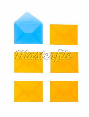 Yellow envelopes on white with one blue opened Stock Photo - Royalty-Free, Artist: iko, Code: 400-03975105