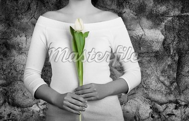 Woman with white tulips on is hands (Partial desaturated picture) Stock Photo - Royalty-Free, Artist: iko, Code: 400-03979149