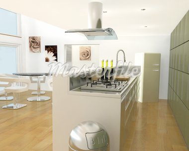 3D render of a contemporary kitchen Stock Photo - Royalty-Free, Artist: kirstypargeter, Code: 400-03986644