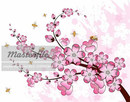 Grunge paint flower background with bee, element for design, vector illustration