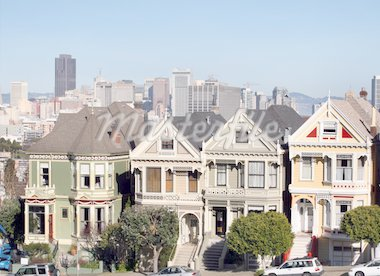 Victorian houses at Alamo Square in San Francisco, California. Stock Photo - Royalty-Free, Artist: barsik, Code: 400-03998656