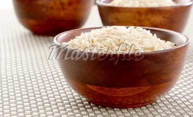 Two bowls of healthy organic basmati rice. Stock Photo - Royalty-Free, Artist: carterphoto, Code: 400-04002711