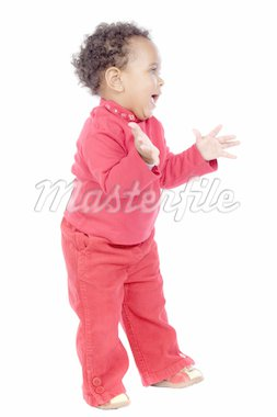 adorable happy baby a over white background Stock Photo - Royalty-Free, Artist: Gelpi, Code: 400-04017188