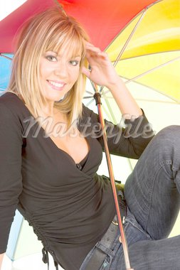 young girl with umbrella in colors Stock Photo - Royalty-Free, Artist: vladacanon, Code: 400-04018145